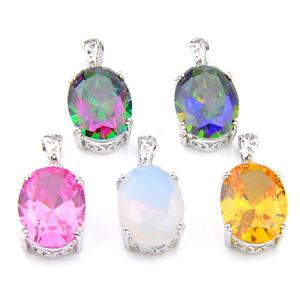 5 pcs 1 Lot Mystic Topaz Yellow Citrine Moonstone Gems Silver Necklace Pendant