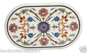 """24""""x30"""" White Marble Coffee Table Top Floral Inlay Marquetry Patio Decor Gifts"""