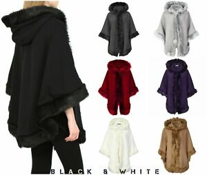 New Ladies Faux Fur Poncho Cape Trim Hooded Celeb Coat Shawl Top Wrap UK 8 - 18