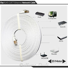 20 RJ45 Cat7 Network Ethernet SSTP 10Gbps Gigabit Ultra-Thin Patch Flat Cable