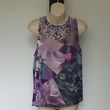 'HERE COMES THE SUN' EC SIZE '12' PURPLE, AQUA & TAUPE FLORAL PRINT SILKY TOP