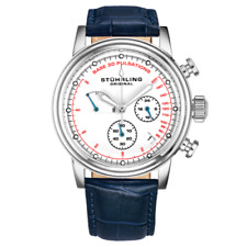 Stuhrling 895 04 ChronoPulse Chronograph Pulsometer Date Blue Leather Mens Watch