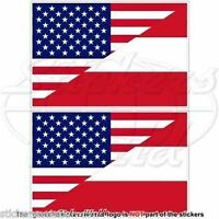 "USA United States America-AUSTRIA American-Austrian Flag, 3"" (75mm) x2 Stickers"