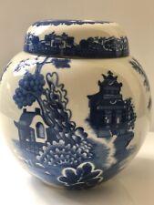 Vintage Royal Cauldon Bristol Ironstone Ginger  Lidded Jar .willow Pattern.