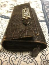 BRIGHTON Brown Croc Leather Checkbook Credit Card Coin iPhone Wallet Holder