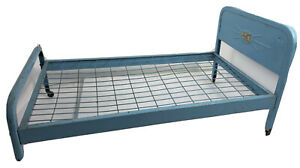 Vintage 1950's AMSCO Doll-E-Bed Blue Metal with Castors 25.5 Inch