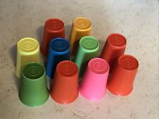 Lot of 10 Vintage Primary Colors Tupperware 7 Oz Glasses Child's  G Cups #109
