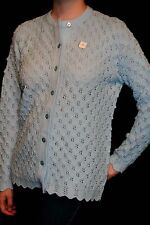 M~L  NOS Blue Vtg 60s Open Puff Knit SHERRY GALE  Rockabilly Cardigan Sweater
