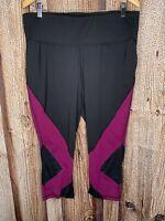Livi Active Black Purple Mesh Capri Leggings Women's Plus Size 18/20