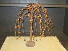"""NEW!!! Primitive Country Rustic 12"""" Burgundy & Mustard WILLOW TREE W/RUSTY STARS"""