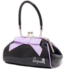 Sourpuss Floozy Purse Handbag Black Vinyl Lilac Bow Kiss Lock Closure