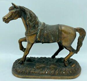 Vintage Bronze Cast Pot Metal Horse Statue