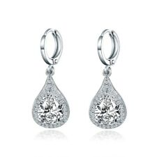 Hot Charm Women White Sapphire Beads Crystal Silver Gold Filled Dangle Earrings