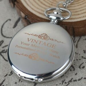 Antique Personalized Engraved Pocket Watch Valentine Gift Necklace Chain Pendant