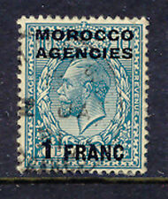 2028 MOROCCO AGENCIES 1917 George V 1 Franc on 10 D. turquoise-blue VFU VARIETY