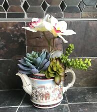 Vintage Sadler Teapot with Artificial White Orchids and Green Grass Succulents
