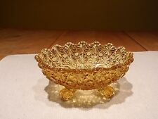 Vintage Amber Daisy and Button Footed Glass Dish