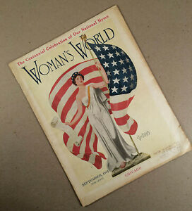 Sept. 1914 WOMAN'S WORLD Magazine with Patriotic Cover, National Anthem Article