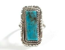 NAVAJO IDA MCCRAY STERLING ETCHED DESIGNS KINGMAN TURQUOISE SIZE 7.5 RING