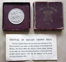 GREAT BRITAIN 1951 CROWN, FESTIVAL OF BRITAIN, UNC IN ORIGINAL BOX + CERTIFICATE