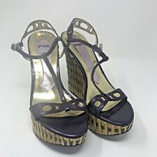 HALE BOB COLBY Size 10 Purple Leather Bamboo High Heel Wedge Shoes Tiki Vintage