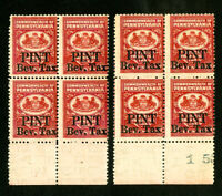 US Stamps F OG NH Lot of 8 in Blocks of 4 Rare
