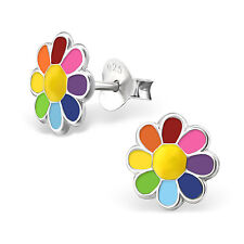 925 Sterling Silver Rainbow Daisy Flower Kids Girls Women Stud Earrings Gift