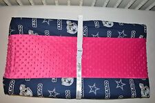 """32"""" Changing Pad Cover M/W Dallas Cowboys & Pink Minky Dot Fleece Fabric"""