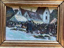 Magnifique Tableau peinture à l'Huile Paysage sur papier Village personnages Mer