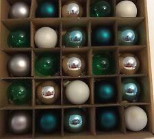 25 MINI GLASS XMAS ORNAMENTS TEAL BLUE GREEN SILVER WHITE GRAY BALLS JINGLES JOY