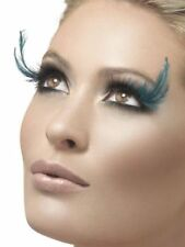 Fever Collection Eyelashes Black & Teal Feather Plumes False Lashes W Adhesive