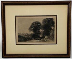 Antique Framed Original A Road Near Oxford Mezzotint Print by Sir Frank Short