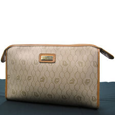 Auth Christian Dior Logos Clutch Hand Bag Canvas Leather Beige France RB3553s