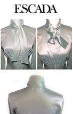 Vintage ESCADA  Silk Empire  Fitted Button Ascot Tie Collar Bell Cuff Blouse HTF