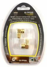 2pc 90 Degree Right Angle Gold Plated F RG59 RG6U Coaxial Coax Connector Adapter