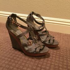 Summer grey wedges with gold studs / Women's US 10