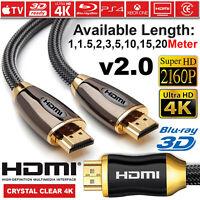PREMIUM HDMI Cable v2.0 HD High Speed 4K 2160P 3D Lead 1M 1.5M 2M 3M 5M 10M 20M
