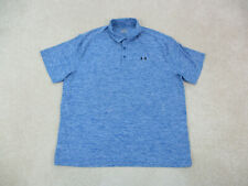 New listing Under Armour Polo Shirt Adult 2XL XXL Blue Black Lightweight Rugby Mens A12