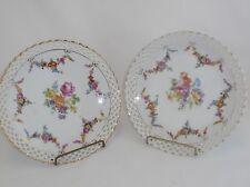 SCHUMANN Bavaria Dresden Flowers Floral Swag Pierced Plates Set of 2