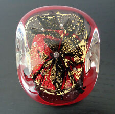 """NOUROT ART GLASS STUDIO SIGNED DATED 1993 PAPERWEIGHT 2 1/4"""" TALL RED GOLD FOIL"""