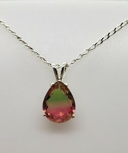 Pear Watermelon Tourmaline Sterling Silver Necklace