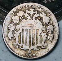 1869 Shield Nickel 5 Cents 5C Ungraded Civil War Era Good Details US Coin CC5496
