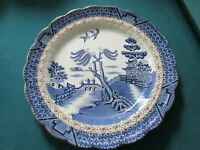 ANTIQUE 1910 Real Old Willow Blue by BOOTHS ROUND TRAY