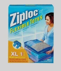 ZIPLOC Flexible Zipper Storage Tote Bag Heavy Duty Clear Stack-able XL 10 Gallon
