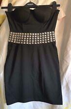 ASOS black Studded Stretch Strapless Bodycon Mini Dress size 8 bustier clubwear