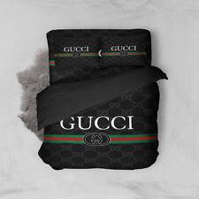 Hot Sale Gucci Bed Cover Pillow Case Duvet Cover Black Stripes Stripes Size King