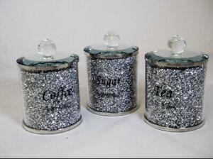 LARGE CRUSHED DIAMOND CRYSTAL SILVER SPARKLY TEA COFFEE SUGAR CANISTERS✨
