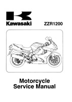 KAWASAKI MOTORCYCLE ZZR1200 C1-C3 SERVICE MANUAL 02 - 05 REPRINTED COMB BOUND
