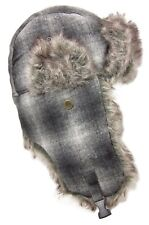 Dakota Dan Winter Trooper Hat Cap Faux Rabbit Fur Black & White Plaid