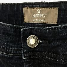 So Slimming by Chico's 0.5 Dark - Zip Ankle Jeans w Bling - Sparkle - Stretch